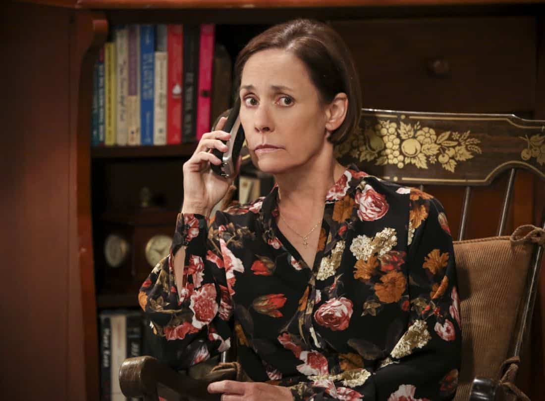 """""""The Solo Oscillation"""" -- Pictured: Mary (Laurie Metcalf). When Sheldon kicks Amy out to work solo, she and Leonard bond during a series of science experiments. Also, Bert the geologist replaces Wolowitz in the band Footprints on the Moon, and Sheldon finds Penny a surprising source of scientific inspiration, on THE BIG BANG THEORY, Thursday, Jan. 11 (8:00-8:31 PM, ET/PT) on the CBS Television Network. Laurie Metcalf returns as Sheldon's mother, Mary. Photo: Michael Yarish/Warner Bros. Entertainment Inc. © 2017 WBEI. All rights reserved."""