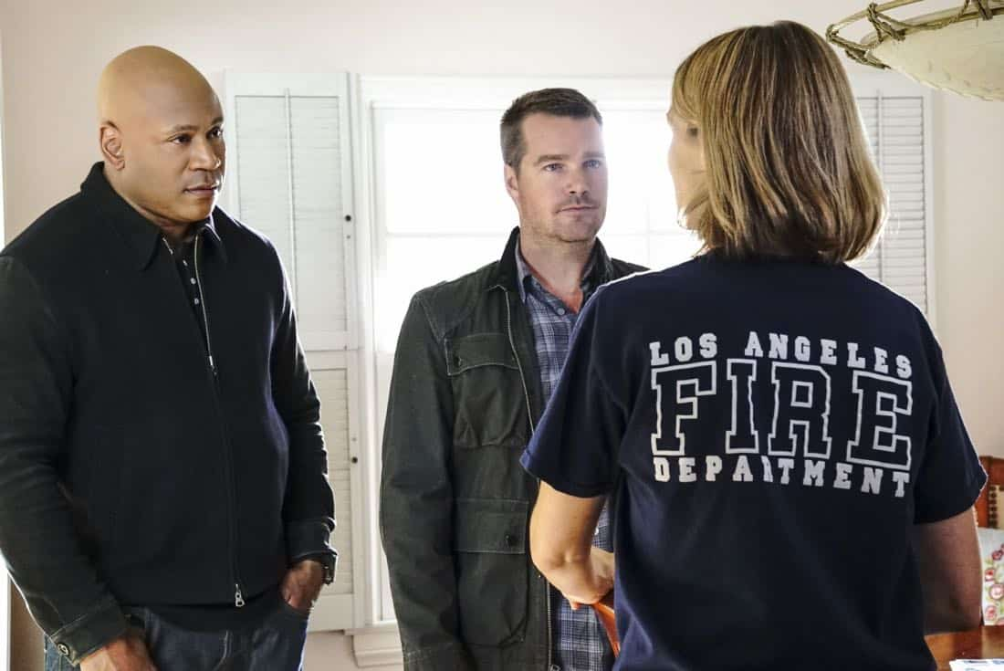 """Under Pressure"" -- Pictured: LL COOL J (Special Agent Sam Hanna) and Chris O'Donnell (Special Agent G. Callen). After napalm is detected at a crime scene, the NCIS team investigates the sole casualty for possible links to terrorism, on NCIS: LOS ANGELES, Sunday, Jan. 7 (9:00-10:00 PM, ET/PT) on the CBS Television Network. Photo: Bill Inoshita/CBS ©2017 CBS Broadcasting, Inc. All Rights Reserved."