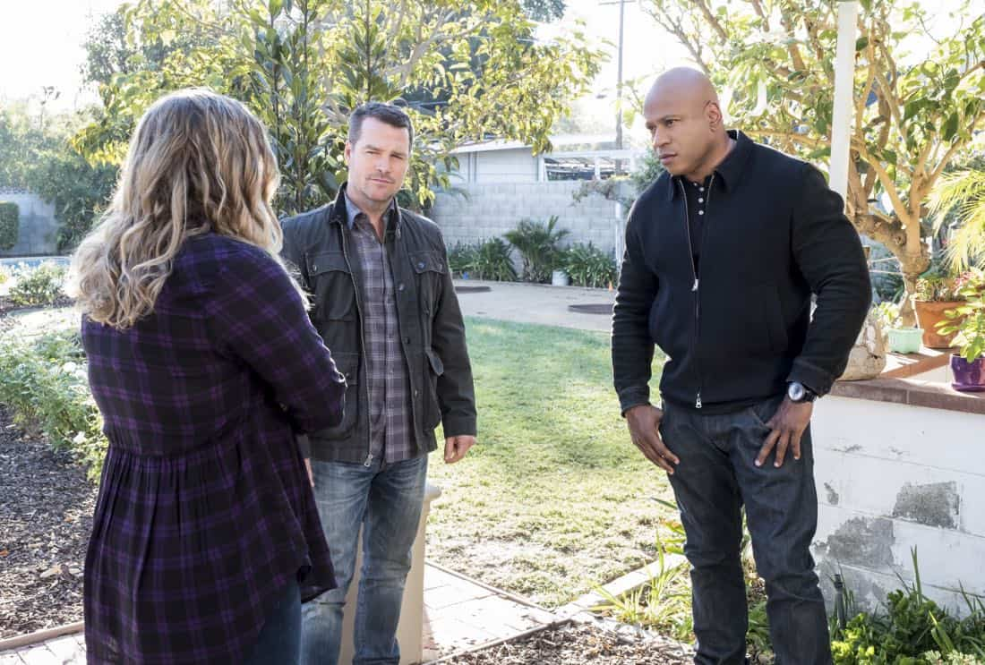 """Under Pressure"" -- Pictured: Chris O'Donnell (Special Agent G. Callen) and LL COOL J (Special Agent Sam Hanna). After napalm is detected at a crime scene, the NCIS team investigates the sole casualty for possible links to terrorism, on NCIS: LOS ANGELES, Sunday, Jan. 7 (9:00-10:00 PM, ET/PT) on the CBS Television Network. Photo: Jessica Brooks/CBS ©2017 CBS Broadcasting, Inc. All Rights Reserved."
