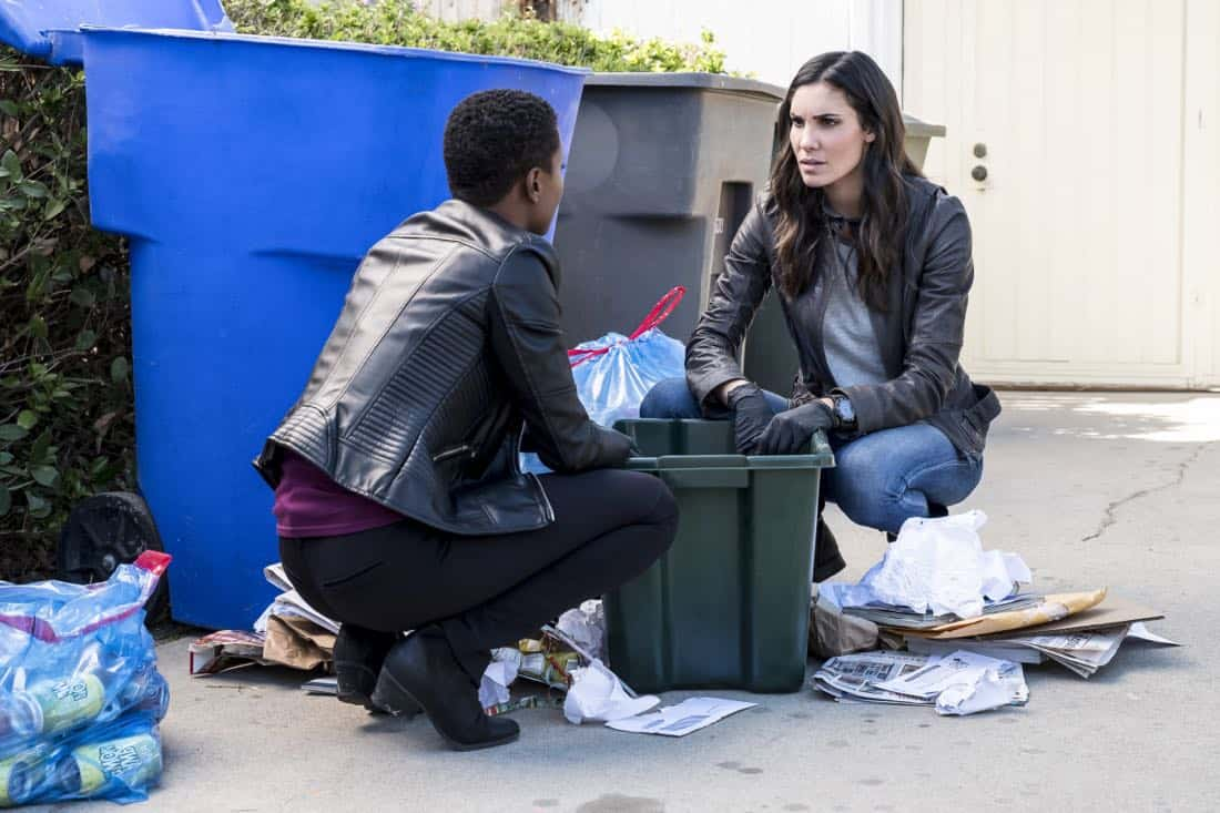 """Under Pressure"" -- Pictured: Andrea Bordeaux (NCIS Special Agent Harley Hidoko) and Daniela Ruah (Special Agent Kensi Blye). After napalm is detected at a crime scene, the NCIS team investigates the sole casualty for possible links to terrorism, on NCIS: LOS ANGELES, Sunday, Jan. 7 (9:00-10:00 PM, ET/PT) on the CBS Television Network. Photo: Jessica Brooks/CBS ©2017 CBS Broadcasting, Inc. All Rights Reserved."