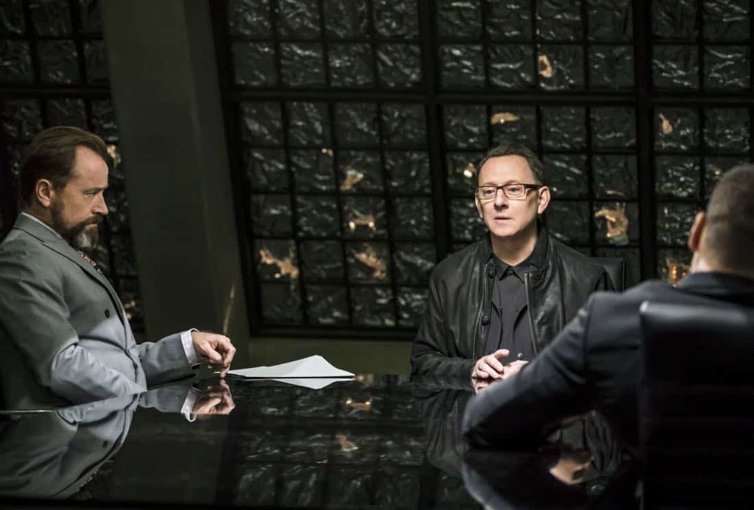 """Arrow -- """"Divided"""" -- Image Number: AR610a_0302.jpg -- Pictured (L-R): David Nykl as Anatoly Knyazev and Michael Emerson as Cayden James -- Photo: Daniel Power/The CW -- © 2018 The CW Network, LLC. All Rights Reserved."""