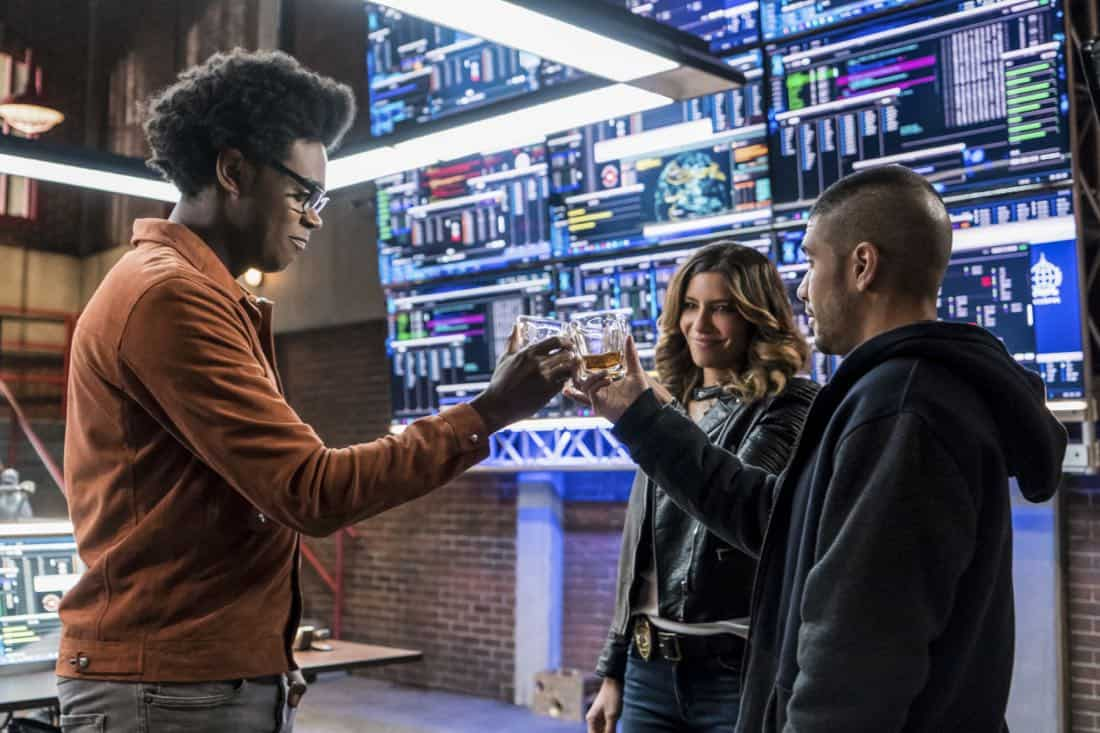"""Arrow -- """"Divided"""" -- Image Number: AR610b_0056.jpg -- Pictured (L-R): Echo Kellum as Curtis Holt/Mr. Terrific, Juliana Harkavy as Dinah Drake/Black Canary and Rick Gonzalez as Rene Ramirez/Wild Dog -- Photo: Daniel Power/The CW -- © 2018 The CW Network, LLC. All Rights Reserved."""