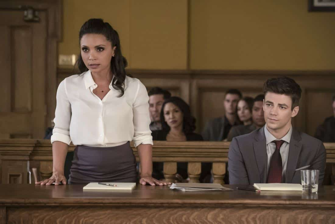 """The Flash -- """"The Trial of The Flash"""" -- Image Number: FLA410a_0252b.jpg -- Pictured (L-R): Danielle Nicolet as Cecile Horton and Grant Gustin as Barry Allen -- Photo: Katie Yu/The CW -- © 2017 The CW Network, LLC. All rights reserved"""