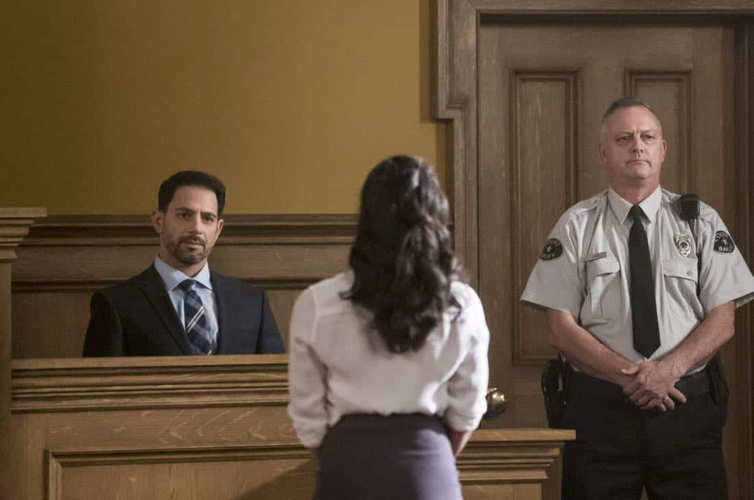 """The Flash -- """"The Trial of The Flash"""" -- Image Number: FLA410a_0300b.jpg -- Pictured (L-R): Patrick Sabongui as Captain Singh and Danielle Nicolet as Cecile Horton -- Photo: Katie Yu/The CW -- © 2017 The CW Network, LLC. All rights reserved"""