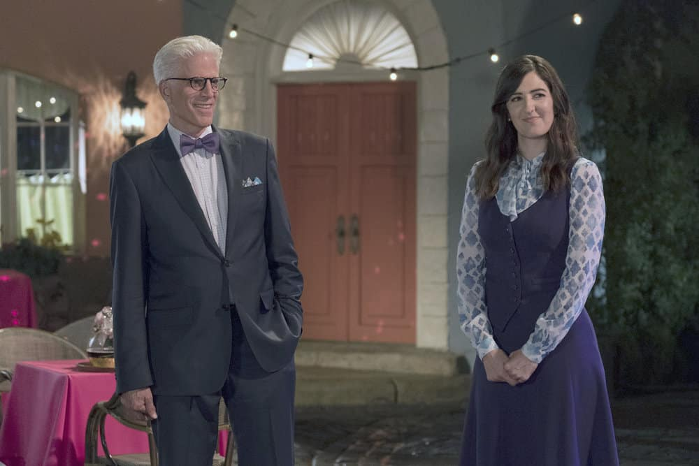 """THE GOOD PLACE -- """"Best Self"""" Episode 210 -- Pictured: (l-r) Ted Danson as Michael, D'Arcy Carden as Janet -- (Photo by: Colleen Hayes/NBC)"""