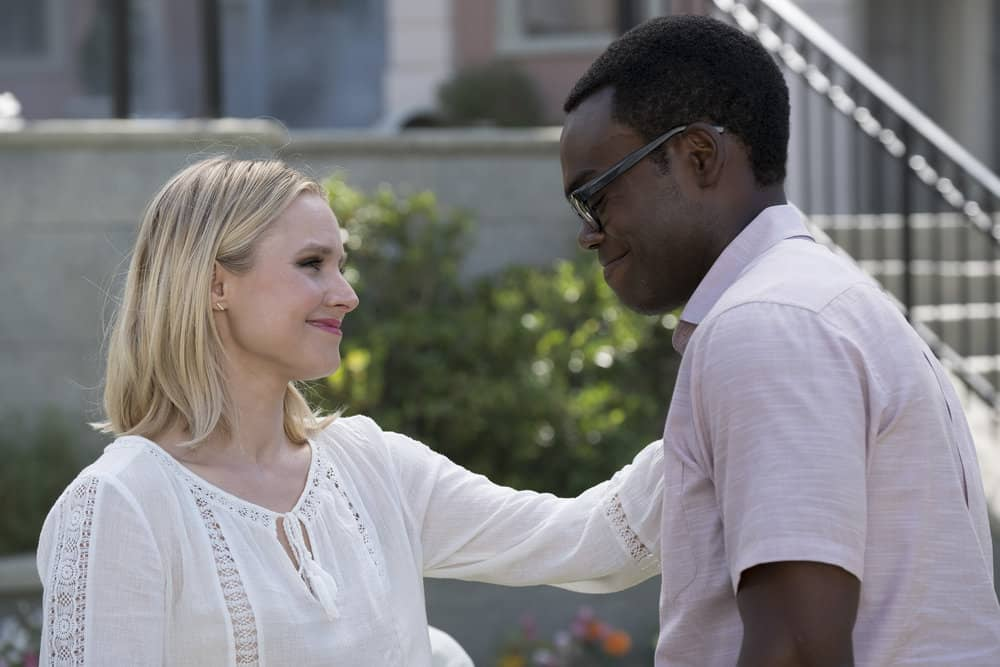 """THE GOOD PLACE -- """"Best Self"""" Episode 210 -- Pictured: (l-r) Kristen Bell as Eleanor, William Jackson Harper as Chidi -- (Photo by: Colleen Hayes/NBC)"""
