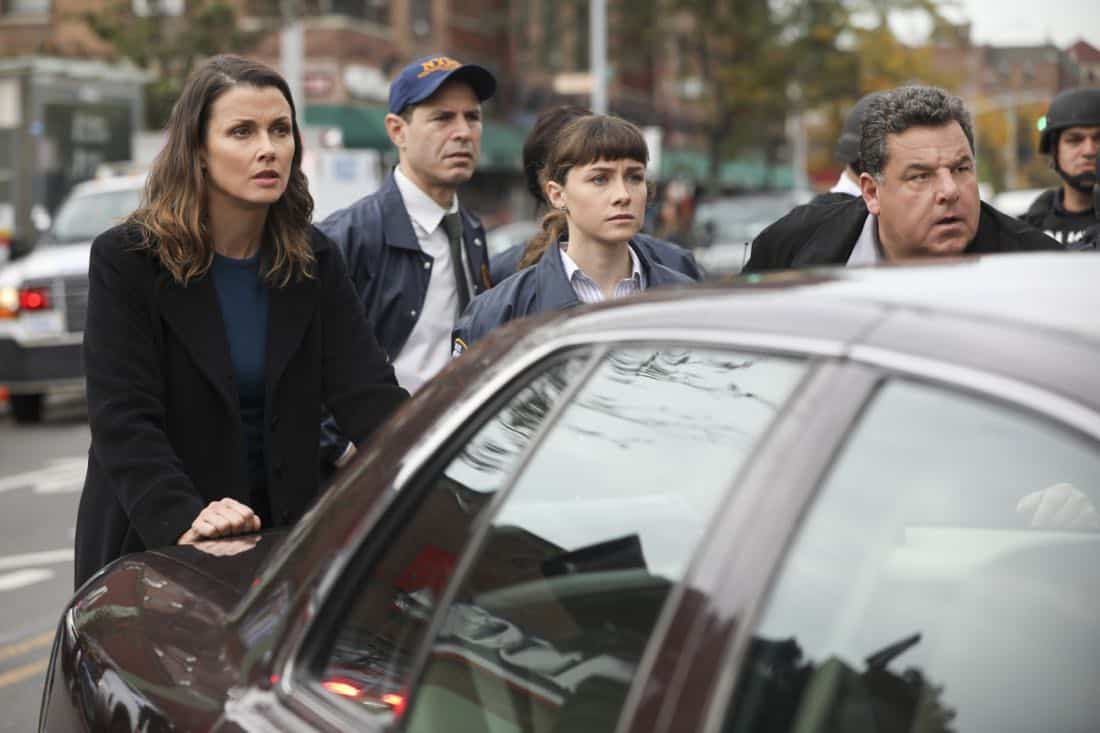 """""""Second Chances"""" -- When a journalist disappears while working on an exposé about an innocent man serving time for murder, Danny and Baez hope that reexamining the original case will help find her. Also, Frank reluctantly speaks out against an initiative led by Erin's office to consider drug abuse as a disease first, and a crime second, on BLUE BLOODS, Friday, Jan. 5 (10:00-11:00 PM, ET/PT) on the CBS Television Network. Pictured: Bridget Moynahan, Steve Schirripa. Photo: Craig Blankenhorn/CBS  ©2017CBS Broadcasting Inc. All Rights Reserved."""