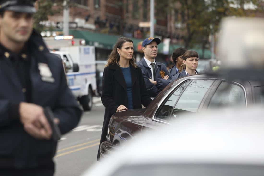 """""""Second Chances"""" -- When a journalist disappears while working on an exposé about an innocent man serving time for murder, Danny and Baez hope that reexamining the original case will help find her. Also, Frank reluctantly speaks out against an initiative led by Erin's office to consider drug abuse as a disease first, and a crime second, on BLUE BLOODS, Friday, Jan. 5 (10:00-11:00 PM, ET/PT) on the CBS Television Network. Pictured: Bridget Moynahan  Photo: Craig Blankenhorn/CBS  ©2017CBS Broadcasting Inc. All Rights Reserved."""