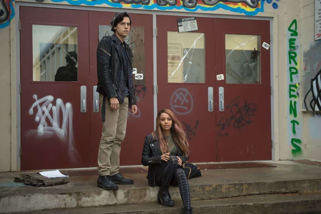 "Riverdale -- ""Chapter Twenty-Three: The Blackboard Jungle"" -- Image Number: RVD210a_0023.jpg -- Pictured (L-R): Cole Spouse as Jughead and Vanessa Morgan as Toni -- Photo: Diyah Pera/The CW -- © 2018 The CW Network, LLC. All rights reserved."