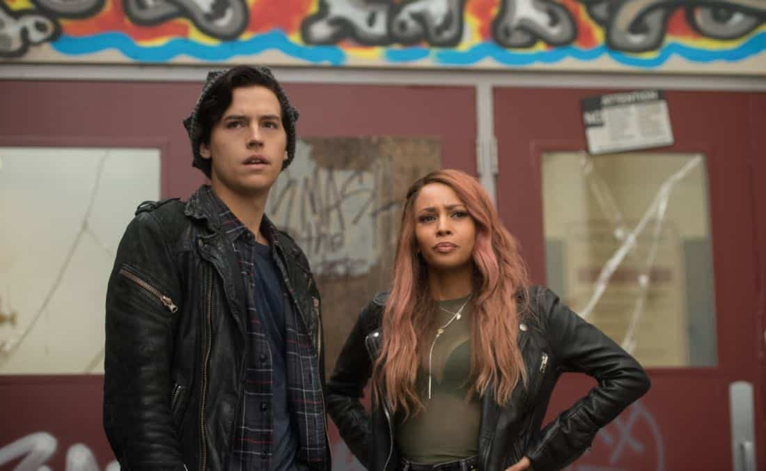 "Riverdale -- ""Chapter Twenty-Three: The Blackboard Jungle"" -- Image Number: RVD210b_0286.jpg -- Pictured (L-R): Cole Spouse as Jughead and Vanessa Morgan as Toni -- Photo: Diyah Pera/The CW -- © 2018 The CW Network, LLC. All rights reserved."