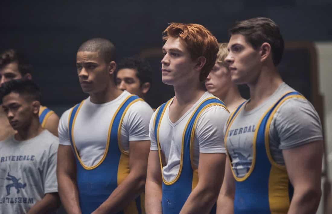 "Riverdale -- ""Chapter Twenty-Four: The Wrestler"" -- Image Number: RVD211b_0242.jpg -- Pictured (L-R): Jordan Calloway as Chuck, KJ Apa as Archie and Casey Cott as Kevin -- Photo: Dean Buscher/The CW -- © 2018 The CW Network, LLC. All rights reserved."