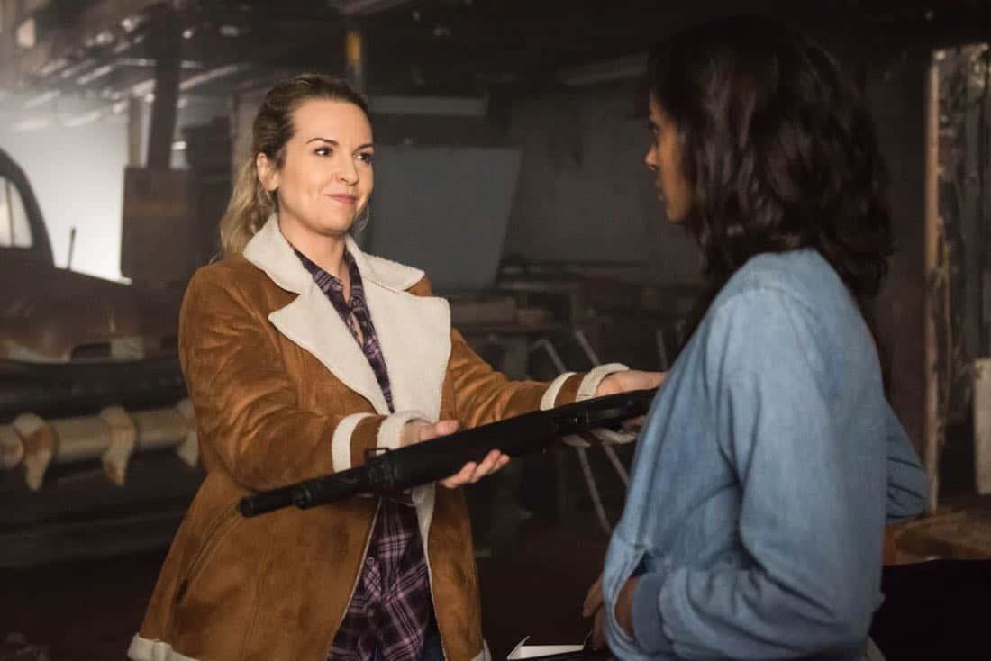 "Supernatural -- ""Wayward Sisters"" -- Image Number: SN1310b_0381.jpg -- Pictured (L-R): Briana Buckmaster as Donna and Clark Backo as Patience -- Photo: Dean Buscher/The CW -- © 2017 The CW Network, LLC All Rights Reserved"