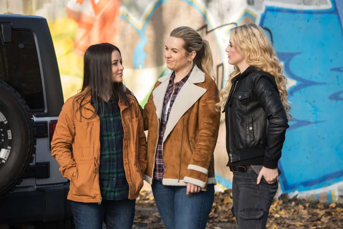"Supernatural -- ""Wayward Sisters"" -- Image Number: SN1310c_0113.jpg -- Pictured (L-R): Katherine Ramdeen as Alex, Briana Buckmaster as Donna and Kathryn Newton as Claire -- Photo: Dean Buscher/The CW -- © 2017 The CW Network, LLC All Rights Reserved"