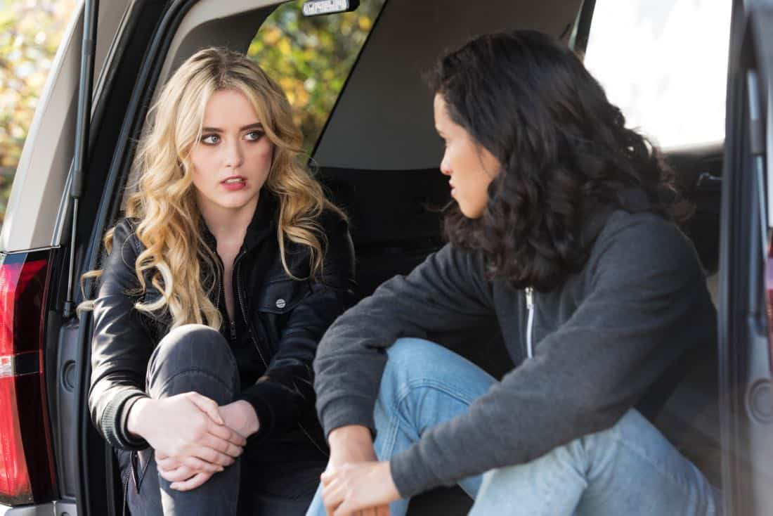 "Supernatural -- ""Wayward Sisters"" -- Image Number: SN1310c_0215b.jpg -- Pictured (L-R): Kathryn Newton as Claire and Yadira Guevara - Prip as Kaia -- Photo: Dean Buscher/The CW -- © 2017 The CW Network, LLC All Rights Reserved"