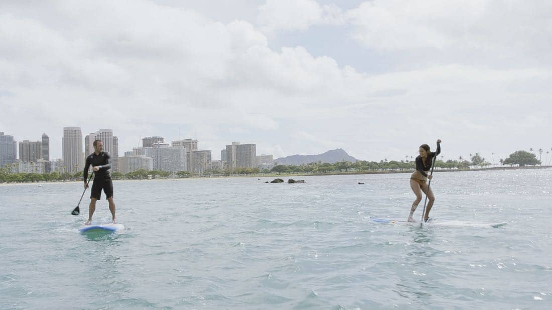 """""""O ka mea ua hala, ua hala ia.""""-- When a man accused of killing his wife threatens to commit suicide, Grover reveals how he too was once on the brink of taking his own life, on HAWAII FIVE-0, Friday, Jan. 12 (9:00-10:00 PM, ET/PT) on the CBS Television Network. Chi McBride appears in a PSA for the National Suicide Prevention Lifeline at the end of the episode. Pictured left to right: Alex O'Loughlin as Steve McGarrett and Meaghan Rath as Tani Rey. Photo credit: Screengrab/©2017 CBS Broadcasting, Inc. All Rights Reserved.   (""""O ka mea ua hala, ua hala ia."""" is Hawaiian for """"What is Gone is Gone."""")"""