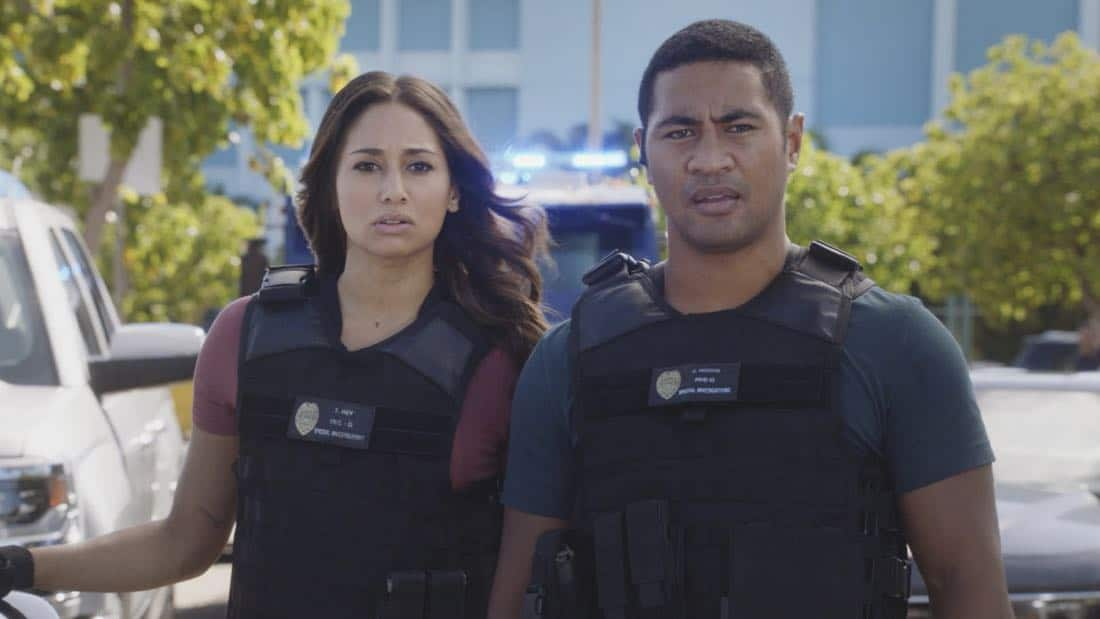 """""""O ka mea ua hala, ua hala ia.""""-- When a man accused of killing his wife threatens to commit suicide, Grover reveals how he too was once on the brink of taking his own life, on HAWAII FIVE-0, Friday, Jan. 12 (9:00-10:00 PM, ET/PT) on the CBS Television Network. Chi McBride appears in a PSA for the National Suicide Prevention Lifeline at the end of the episode. Pictured left to right: Meaghan Rath as Tani Rey and Beulah Koale as Junior Reigns. Photo credit: Screengrab/©2017 CBS Broadcasting, Inc. All Rights Reserved.   (""""O ka mea ua hala, ua hala ia."""" is Hawaiian for """"What is Gone is Gone."""")"""