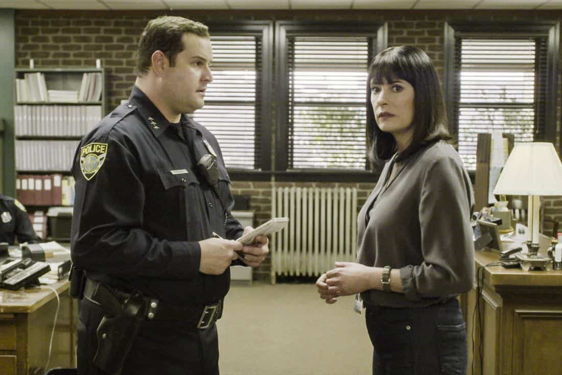 """""""Full-Tilt Boogie"""" -- The BAU team's investigation into the home invasion and attempted homicide of a police chief's wife uncovers a world of secrets in a small town in Virginia, on CRIMINAL MINDS, Wednesday, Jan. 10 (10:00-11:00 PM, ET/PT) on the CBS Television Network.  Pictured: Max Adler (Asst. Police Chief Jimmy Mackenzie), Paget Brewster (Emily Prentiss)  Photo: Best Screen Grab Available ©2017 CBS Broadcasting, Inc. All Rights Reserved"""