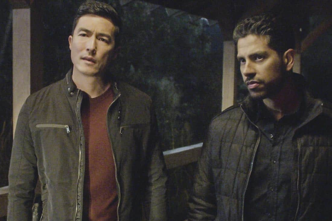 """""""Full-Tilt Boogie"""" -- The BAU team's investigation into the home invasion and attempted homicide of a police chief's wife uncovers a world of secrets in a small town in Virginia, on CRIMINAL MINDS, Wednesday, Jan. 10 (10:00-11:00 PM, ET/PT) on the CBS Television Network.  Pictured: Daniel Henney (Matt Simmons), Adam Rodriguez (Luke Alvez)  Photo: Best Screen Grab Available ©2017 CBS Broadcasting, Inc. All Rights Reserved"""