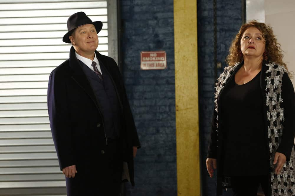 "THE BLACKLIST -- ""Abraham Stern (#100)"" Episode 511 -- Pictured: (l-r) James Spader as Raymond ""Red"" Reddington, Aida Turturro as Heddie Hawkins -- (Photo by: Will Hart/NBC)"