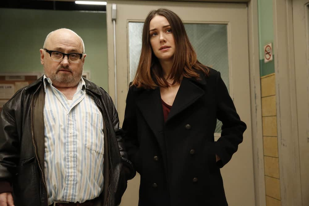 "THE BLACKLIST -- ""Abraham Stern (#100)"" Episode 511 -- Pictured: (l-r) Clark Middleton as Glen, Megan Boone as Elizabeth Keen -- (Photo by: Will Hart/NBC)"