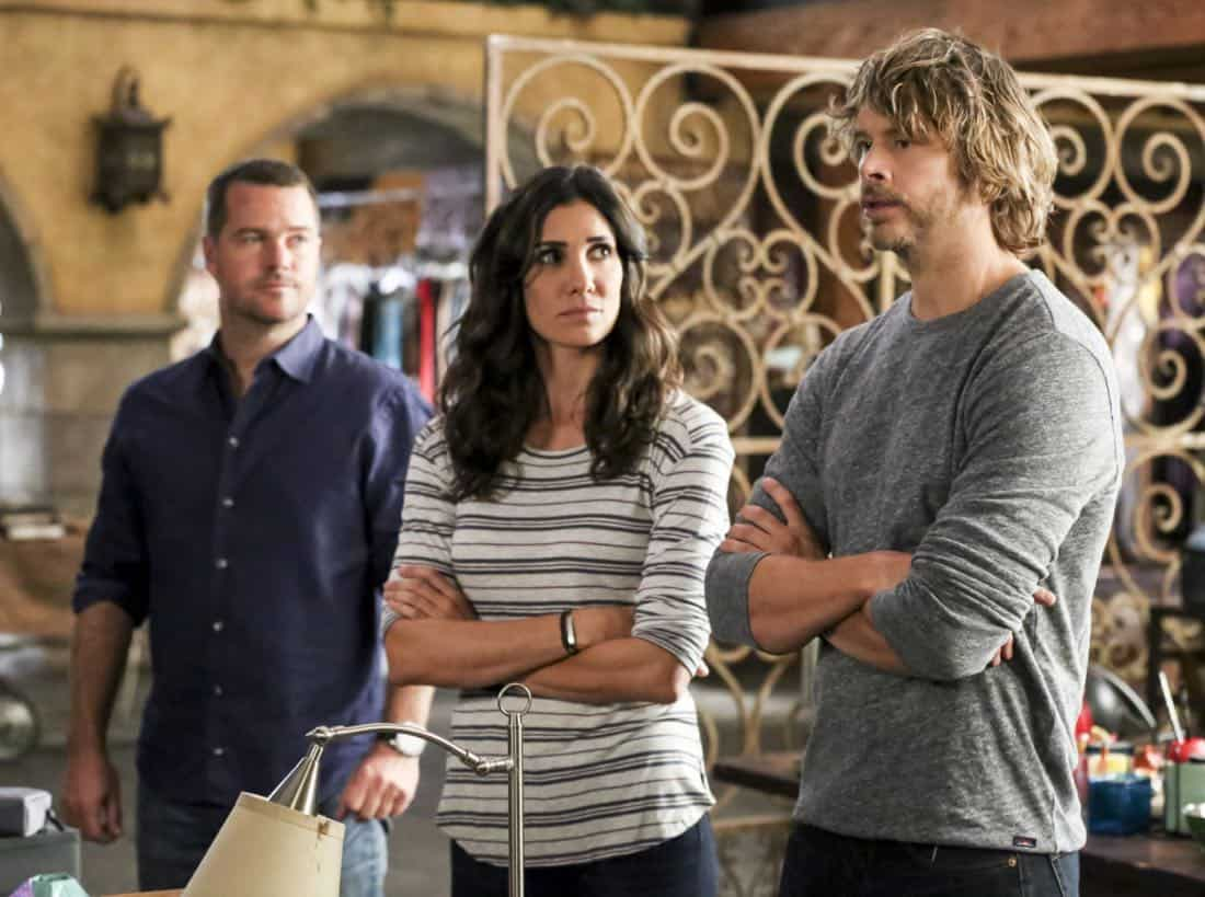 """""""Cac Tu Nhan"""" -- Pictured: Chris O'Donnell (Special Agent G. Callen), Daniela Ruah (Special Agent Kensi Blye) and Eric Christian Olsen (LAPD Liaison Marty Deeks). While Hetty is being tortured by her captors in Vietnam, Eric and Nell find a clue to her whereabouts, prompting the team to organize a rescue mission with very little information, on NCIS: LOS ANGELES, Sunday, Jan. 14 (9:00-10:00 PM, ET/PT) on the CBS Television Network. Carl Lumbly guest stars as Charles Langston and John M. Jackson guest stars as A.J. Chegwidden. Photo: Michael Yarish/CBS ©2017 CBS Broadcasting, Inc. All Rights Reserved."""