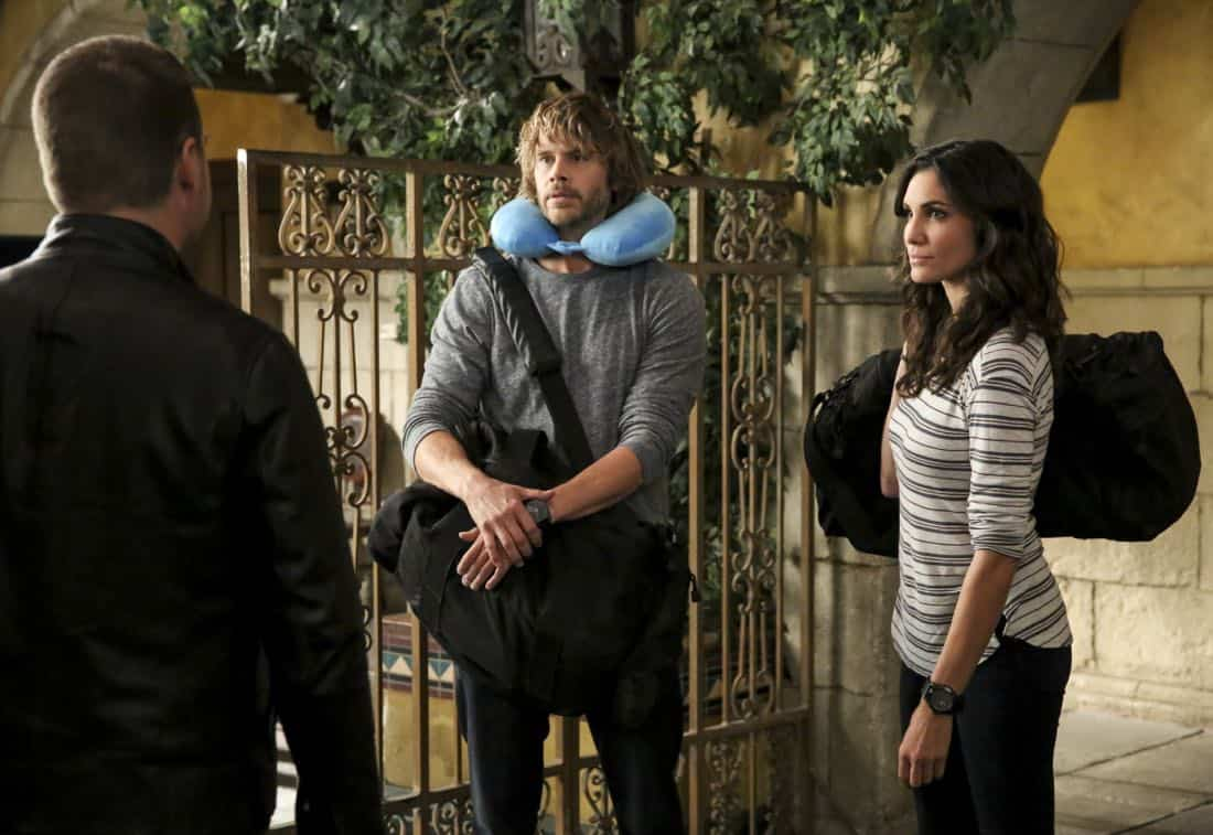 """""""Cac Tu Nhan"""" -- Pictured: Eric Christian Olsen (LAPD Liaison Marty Deeks) and Daniela Ruah (Special Agent Kensi Blye). While Hetty is being tortured by her captors in Vietnam, Eric and Nell find a clue to her whereabouts, prompting the team to organize a rescue mission with very little information, on NCIS: LOS ANGELES, Sunday, Jan. 14 (9:00-10:00 PM, ET/PT) on the CBS Television Network. Carl Lumbly guest stars as Charles Langston and John M. Jackson guest stars as A.J. Chegwidden. Photo: Michael Yarish/CBS ©2017 CBS Broadcasting, Inc. All Rights Reserved."""