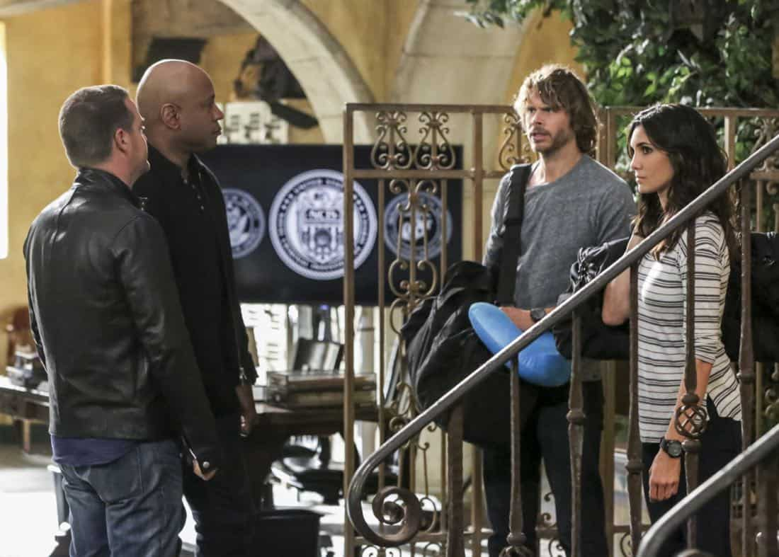 """""""Cac Tu Nhan"""" -- Pictured: Chris O'Donnell (Special Agent G. Callen), LL COOL J (Special Agent Sam Hanna), Eric Christian Olsen (LAPD Liaison Marty Deeks) and Daniela Ruah (Special Agent Kensi Blye). While Hetty is being tortured by her captors in Vietnam, Eric and Nell find a clue to her whereabouts, prompting the team to organize a rescue mission with very little information, on NCIS: LOS ANGELES, Sunday, Jan. 14 (9:00-10:00 PM, ET/PT) on the CBS Television Network. Carl Lumbly guest stars as Charles Langston and John M. Jackson guest stars as A.J. Chegwidden. Photo: Michael Yarish/CBS ©2017 CBS Broadcasting, Inc. All Rights Reserved."""