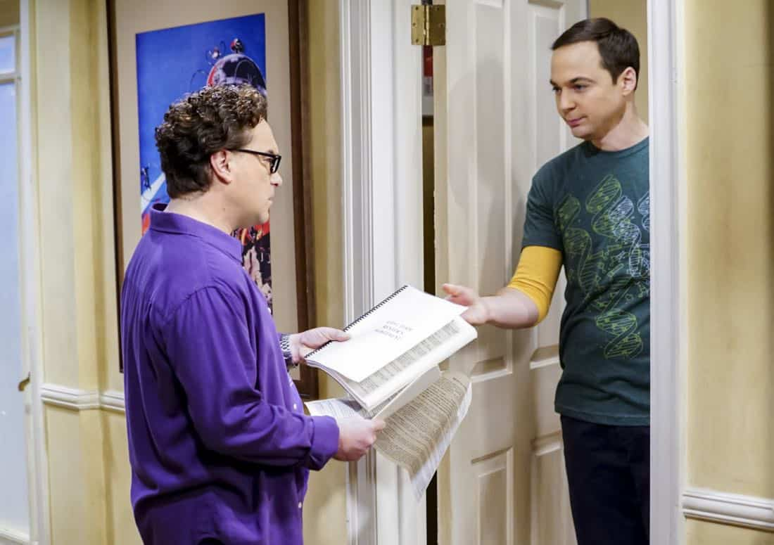 """""""The Separation Triangulation"""" -- Pictured: Leonard Hofstadter (Johnny Galecki) and Sheldon Cooper (Jim Parsons). Koothrappali finds himself in the middle of domestic drama when he learns the woman he's dating, Nell (Beth Behrs), has a very upset husband, Oliver (Walton Goggins). Also, when Sheldon rents his old room back for a quiet place to work, he drives Leonard crazy by being a model tenant, on THE BIG BANG THEORY, Thursday, Jan. 18 (8:00-8:31 PM, ET/PT) on the CBS Television Network. Photo: Sonja Flemming/CBS ©2018 CBS Broadcasting, Inc. All Rights Reserved."""