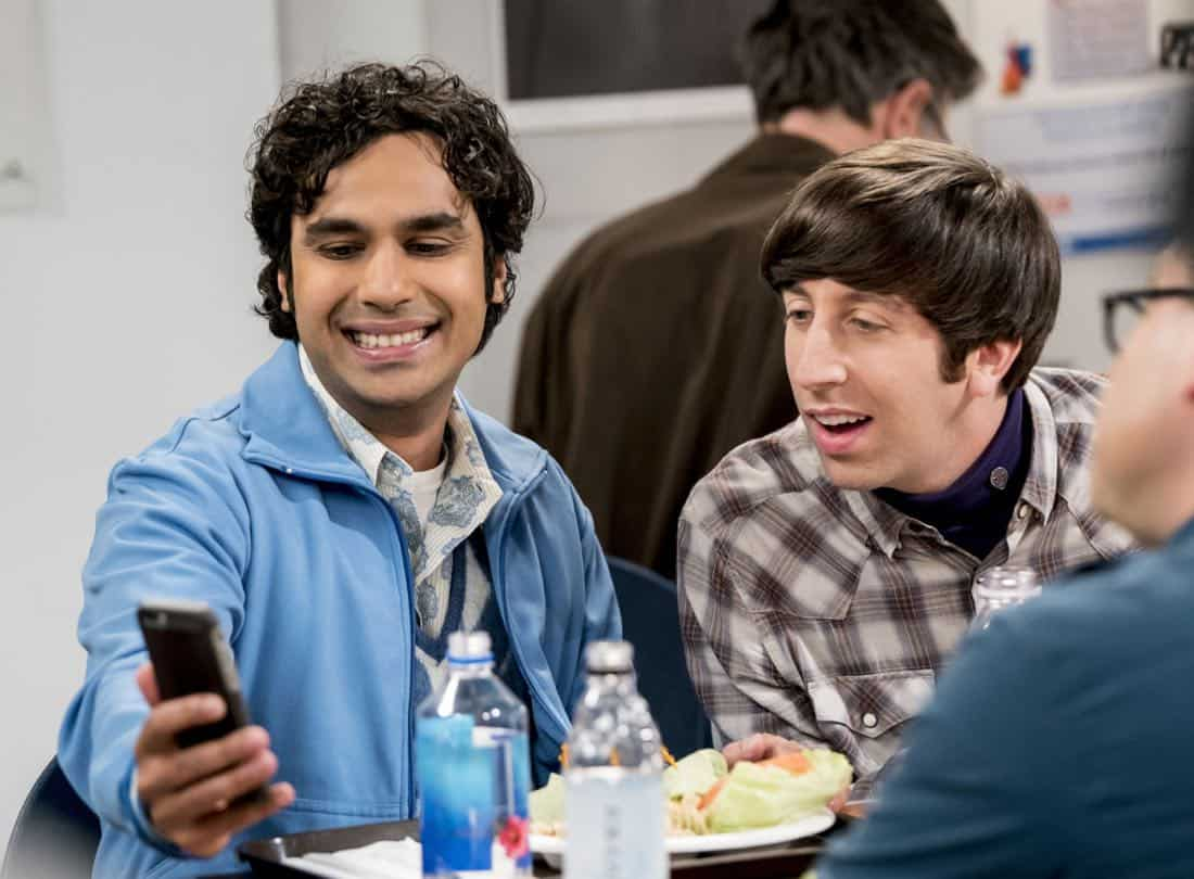 """The Separation Triangulation"" -- Pictured: Rajesh Koothrappali (Kunal Nayyar) and Howard Wolowitz (Simon Helberg). Koothrappali finds himself in the middle of domestic drama when he learns the woman he's dating, Nell (Beth Behrs), has a very upset husband, Oliver (Walton Goggins). Also, when Sheldon rents his old room back for a quiet place to work, he drives Leonard crazy by being a model tenant, on THE BIG BANG THEORY, Thursday, Jan. 18 (8:00-8:31 PM, ET/PT) on the CBS Television Network. Photo: Sonja Flemming/CBS ©2018 CBS Broadcasting, Inc. All Rights Reserved."