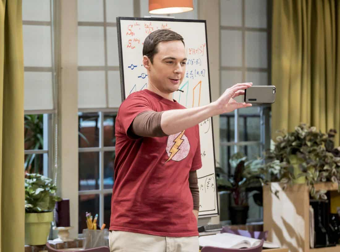 """""""The Separation Triangulation"""" -- Pictured: Sheldon Cooper (Jim Parsons). Koothrappali finds himself in the middle of domestic drama when he learns the woman he's dating, Nell (Beth Behrs), has a very upset husband, Oliver (Walton Goggins). Also, when Sheldon rents his old room back for a quiet place to work, he drives Leonard crazy by being a model tenant, on THE BIG BANG THEORY, Thursday, Jan. 18 (8:00-8:31 PM, ET/PT) on the CBS Television Network. Photo: Sonja Flemming/CBS ©2018 CBS Broadcasting, Inc. All Rights Reserved."""