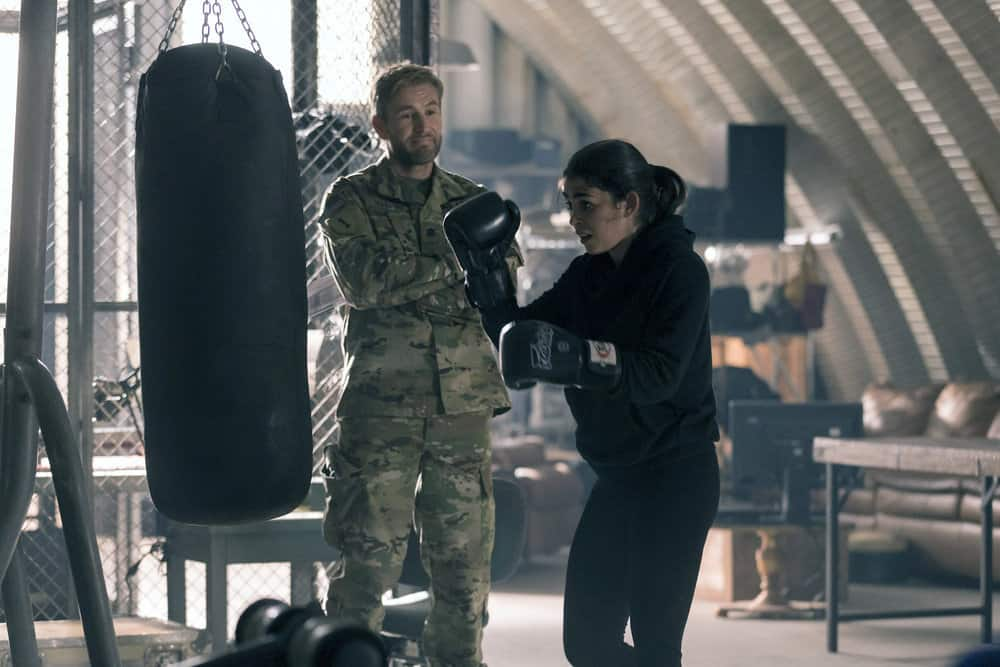 "THE BRAVE -- ""Grounded"" Episode 111 -- Pictured: (l-r) Brett Tucker as Dr. Xander Martin, Natacha Karam as Sergeant Jasmine ""Jaz"" Khan -- (Photo by: John Britt/NBC)"
