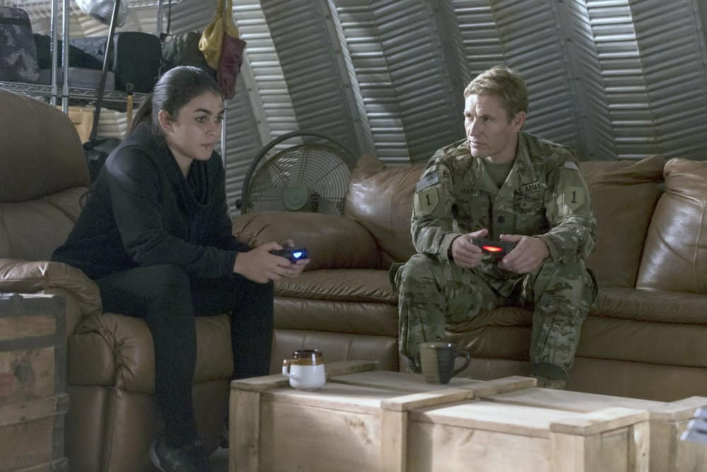 "THE BRAVE -- ""Grounded"" Episode 111 -- Pictured: (l-r) Natacha Karam as Sergeant Jasmine ""Jaz"" Khan, Brett Tucker as Dr. Xander Martin -- (Photo by: John Britt/NBC)"