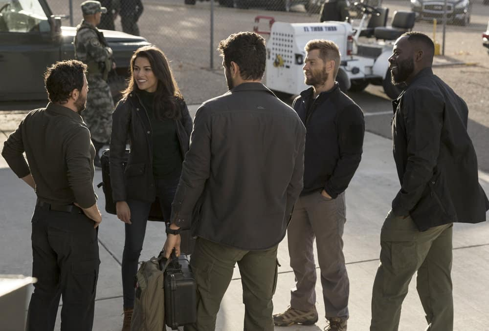 "THE BRAVE -- ""Grounded"" Episode 111 -- Pictured: (l-r) Sofia Pernas as Hannah Rivera, Mike Vogel as Captain Adam Dalton, Demetrius Grosse as CPO Ezekiel ?Preach? Carter -- (Photo by: John Britt/NBC)"