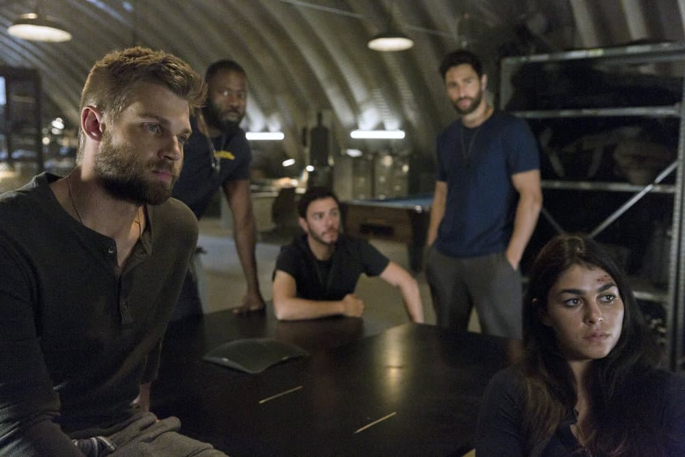 "THE BRAVE -- ""Grounded"" Episode 111 -- Pictured: (l-r) Mike Vogel as Captain Adam Dalton, Demetrius Grosse as CPO Ezekiel ?Preach? Carter,  Hadi Tabbal as Agent Amir Al-Raisani, Noah Mills as Sergeant Joseph ""McG"" McGuire, Natacha Karam as Sergeant Jasmine ""Jaz"" Khan -- (Photo by: John Britt/NBC)"