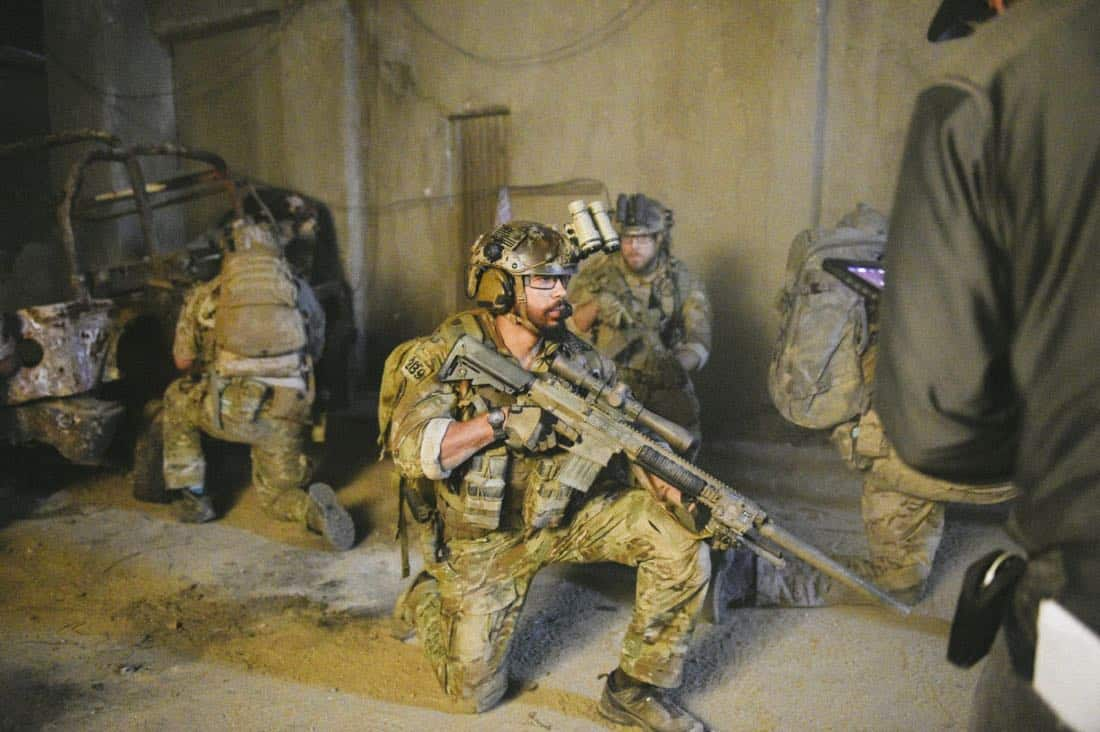 """""""The Upside Down"""" -- While on a mission to retrieve a downed top-secret drone, Jason and the SEAL Team disobey orders so they can save Clay, who is trapped beneath a room full of armed terrorists. Also, Clay and Stella's relationship takes a new turn, on SEAL TEAM, Wednesday, Jan. 17 (9:00-10:00 PM, ET/PT) on the CBS Television Network. Pictured: Neil Brown Jr. as Ray Perry. Photo: Ron P. Jaffe/CBS ©2017 CBS Broadcasting, Inc. All Rights Reserved"""