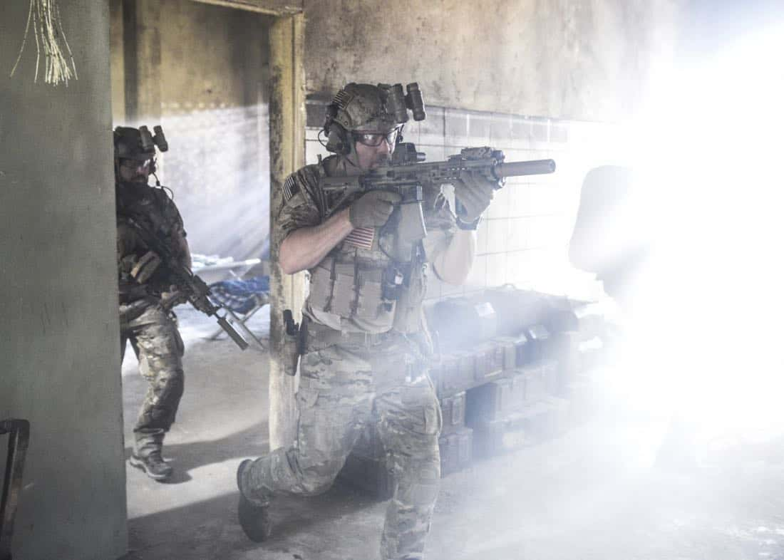 """""""The Upside Down"""" -- While on a mission to retrieve a downed top-secret drone, Jason and the SEAL Team disobey orders so they can save Clay, who is trapped beneath a room full of armed terrorists. Also, Clay and Stella's relationship takes a new turn, on SEAL TEAM, Wednesday, Jan. 17 (9:00-10:00 PM, ET/PT) on the CBS Television Network. Pictured left to right: AJ Buckley as Sonny Quinn and David Boreanaz as Jason Hayes. Photo: Ron P. Jaffe/CBS ©2017 CBS Broadcasting, Inc. All Rights Reserved"""
