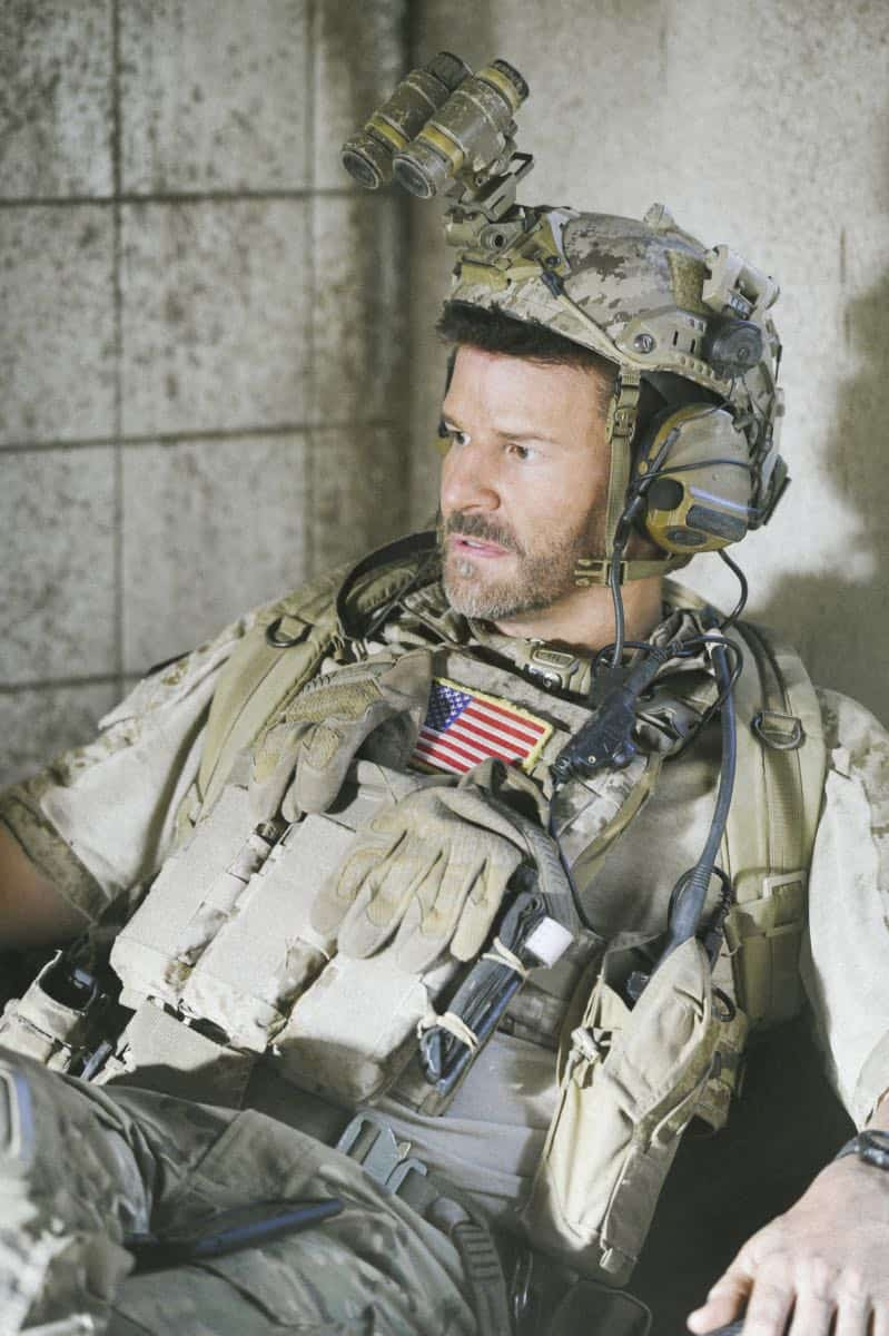 """""""The Upside Down"""" -- While on a mission to retrieve a downed top-secret drone, Jason and the SEAL Team disobey orders so they can save Clay, who is trapped beneath a room full of armed terrorists. Also, Clay and Stella's relationship takes a new turn, on SEAL TEAM, Wednesday, Jan. 17 (9:00-10:00 PM, ET/PT) on the CBS Television Network. Pictured: David Boreanaz as Jason Hayes. Photo: Ron P. Jaffe/CBS ©2017 CBS Broadcasting, Inc. All Rights Reserved"""