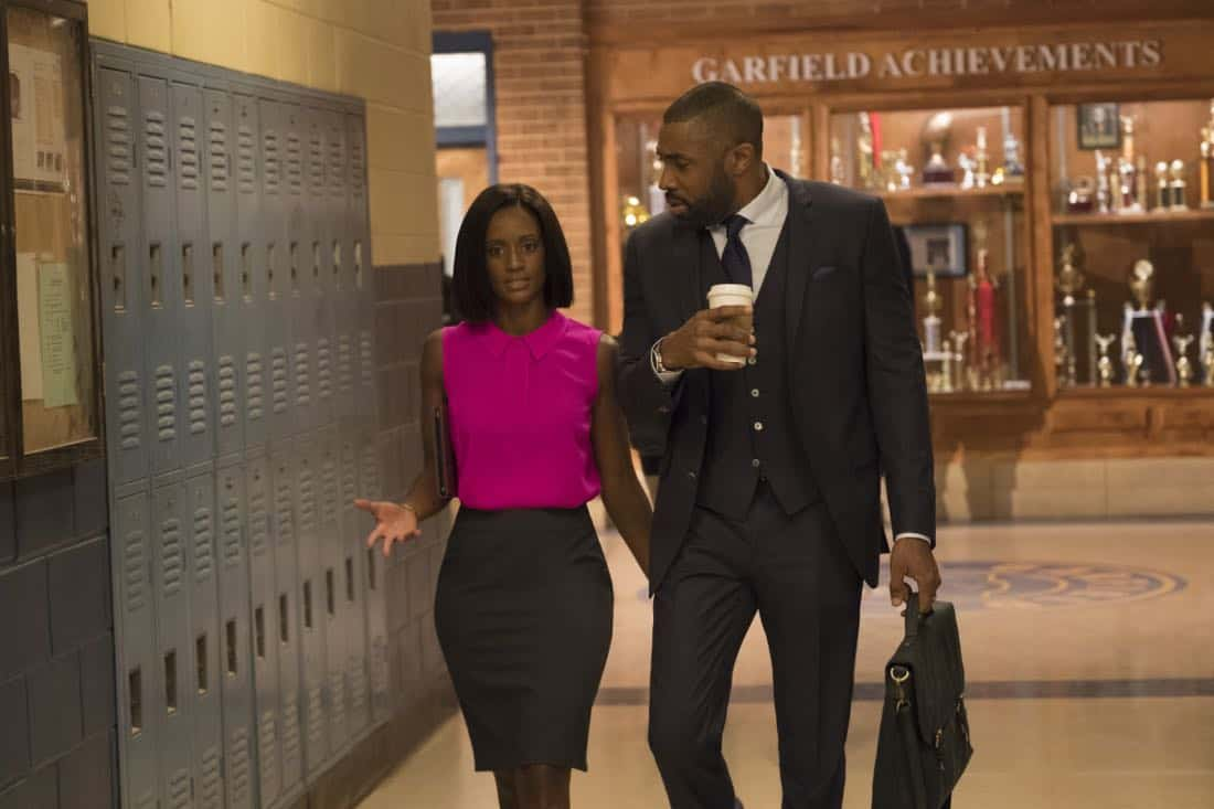 "Black Lightning -- ""The Resurrection"" -- Image BLK101h_0026r.jpg  -- Pictured: Skye P. Marshall as Ms.Fowdy and Cress Williams as Jefferson Pierce -- Photo: Mark Hill/The CW -- © 2018 The CW Network, LLC. All rights reserved."