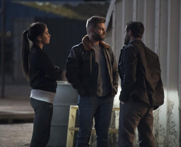 "THE BRAVE -- ""Close to Home, Part 1"" Episode 112 -- Pictured: (l-r) Natacha Karam as Sergeant Jasmine ""Jaz"" Khan, Mike Vogel as Captain Adam Dalton -- (Photo by: Lewis Jacobs/NBC)"
