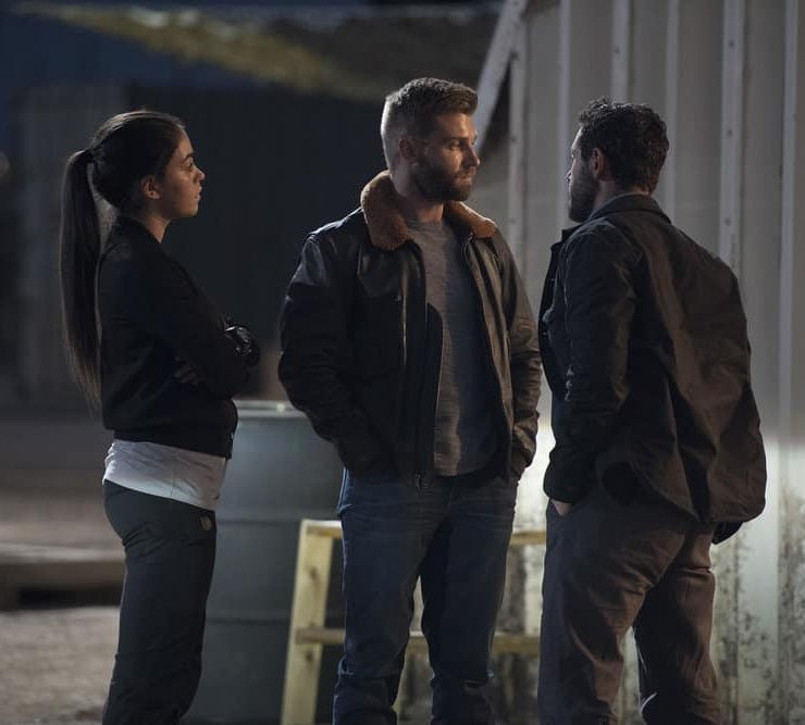 "THE BRAVE -- ""Close to Home, Part 1"" Episode 112 -- Pictured: (l-r) Natacha Karam as Sergeant Jasmine ""Jaz"" Khan, Mike Vogel as Captain Adam Dalton -- (Photo by: Lewis Jacobs/NBC)"