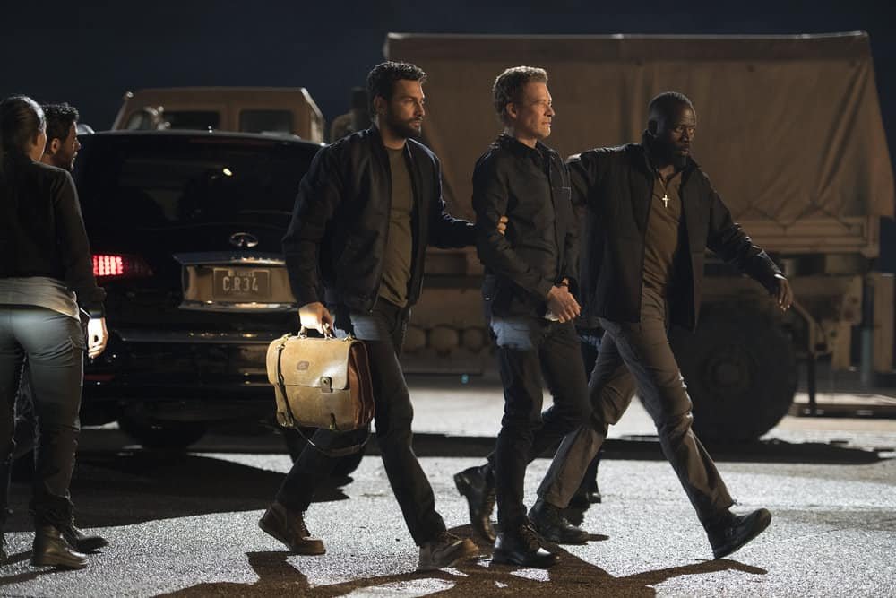 "THE BRAVE -- ""Close to Home, Part 1"" Episode 112 -- Pictured: (l-r) Noah Mills as Sergeant Joseph ""McG"" McGuire, James Tupper as Hoffman, Demetrius Grosse as CPO Ezekiel ?Preach? Carter -- (Photo by: Lewis Jacobs/NBC)"