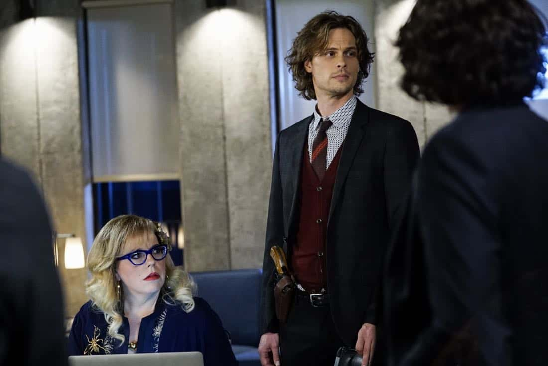 """Cure"" -- The BAU is called to investigate a series of D.C. homicides where cryptic messages are found inside the mouths of each victim, on CRIMINAL MINDS, Wednesday, Jan. 24 (10:00-11:00 PM, ET/PT) on the CBS Television Network.  Pictured: Kirsten Vangsness (Penelope Garcia), Matthew Gray Gubler (Dr. Spencer Reid)   Photo: Cliff Lipson/CBS ©2017 CBS Broadcasting, Inc. All Rights Reserved"