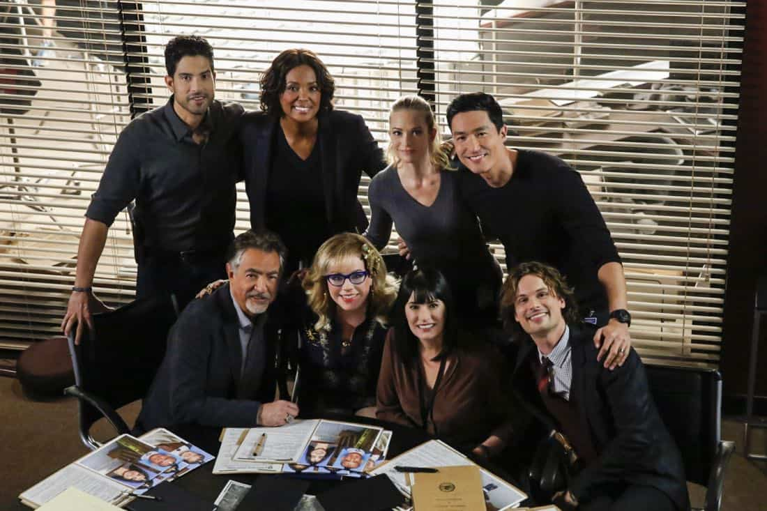 """Cure"" -- The BAU is called to investigate a series of D.C. homicides where cryptic messages are found inside the mouths of each victim, on CRIMINAL MINDS, Wednesday, Jan. 24 (10:00-11:00 PM, ET/PT) on the CBS Television Network.  Pictured (from top row L-R): Adam Rodriguez (Luke Alvez), Aisha Tyler (Dr. Tara Lewis), A.J. Cook (Jennifer Jareau), Daniel Henney (Matt Simmons), Joe Mantegna (David Rossi), Kirsten Vangsness (Penelope Garcia), Paget Brewster (Emily Prentiss), Matthew Gray Gubler (Dr. Spencer Reid)   Photo: Cliff Lipson/CBS ©2017 CBS Broadcasting, Inc. All Rights Reserved"