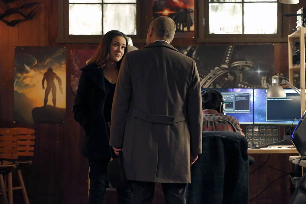 """THE BLACKLIST -- """"Tommy Wattles (#56)"""" Episode 512 -- Pictured: (l-r) Megan Boone as Elizabeth Keen, James Spader as Raymond """"Red"""" Reddington -- (Photo by: Will Hart/NBC)"""