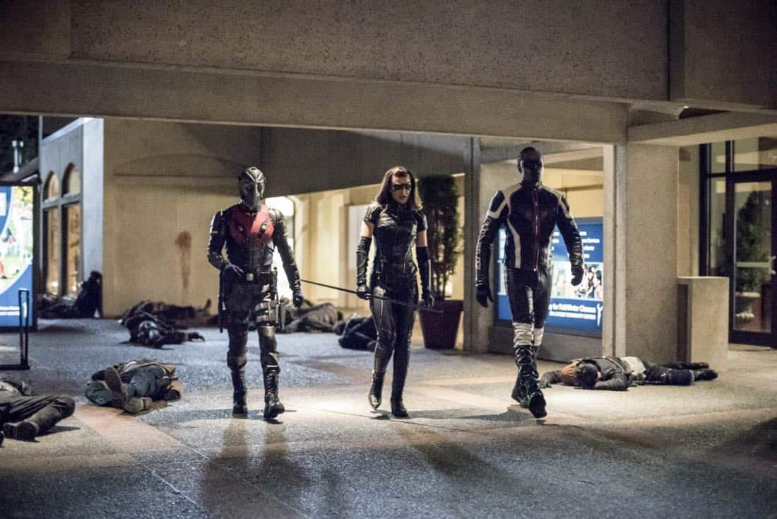 "Arrow -- ""We Fall"" -- Image Number: AR611a_0393.jpg -- Pictured (L-R): Rick Gonzalez as Rene Ramirez/Wild Dog, Juliana Harkavy as Dinah Drake/Black Canary and Echo Kellum as Curtis Holt/Mr. Terrific -- Photo: Dean Buscher/The CW -- © 2018 The CW Network, LLC. All Rights Reserved."