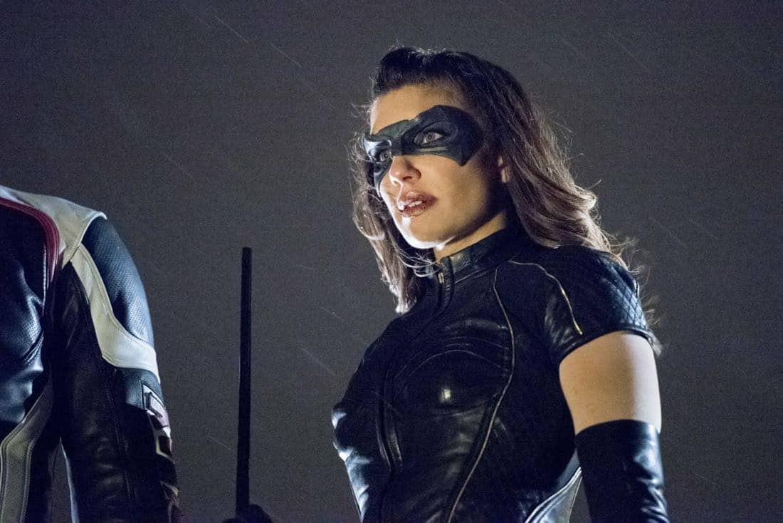 "Arrow -- ""We Fall"" -- Image Number: AR611a_0216.jpg -- Pictured: Juliana Harkavy as Dinah Drake/Black Canary -- Photo: Dean Buscher/The CW -- © 2018 The CW Network, LLC. All Rights Reserved."