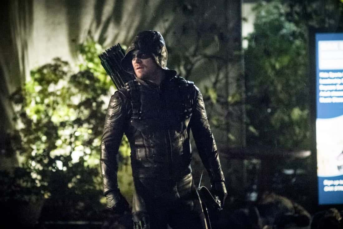 "Arrow -- ""We Fall"" -- Image Number: AR611a_0418.jpg -- Pictured: Stephen Amell as Oliver Queen/Green Arrow -- Photo: Dean Buscher/The CW -- © 2018 The CW Network, LLC. All Rights Reserved."