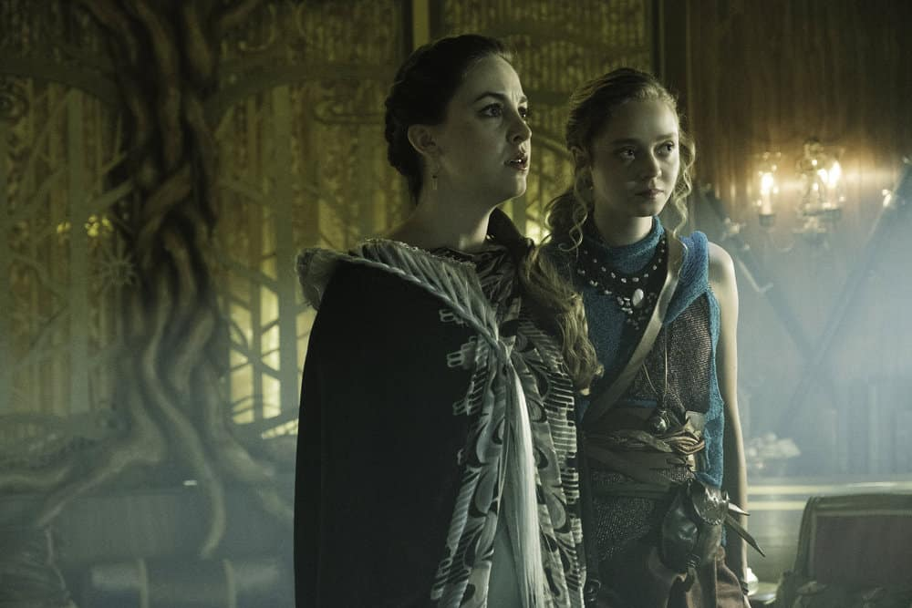 "THE MAGICIANS -- ""The Losses of Magic"" Episode 303 -- Pictured: (l-r) Brittany Curran as Fen, Madeleine Arthur as Fray -- (Photo by: Eric Milner/Syfy)"