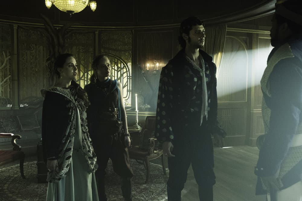 "THE MAGICIANS -- ""The Losses of Magic"" Episode 303 -- Pictured: (l-r) Brittany Curran as Fen, Madeleine Arthur as Fray, Hale Appleman as Eliot Waugh -- (Photo by: Eric Milner/Syfy)"