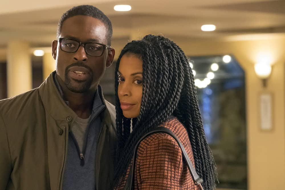 """THIS IS US -- """"That'll Be The Day"""" Episode 213 -- Pictured: (l-r) Sterling K. Brown as Randall, Susan Kelechi Watson as Beth -- (Photo by: Ron Batzdorff/NBC)"""